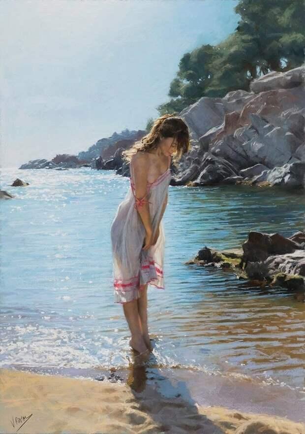 Женщины и море на картинах испанского художника Висенте Ромеро Редондо
