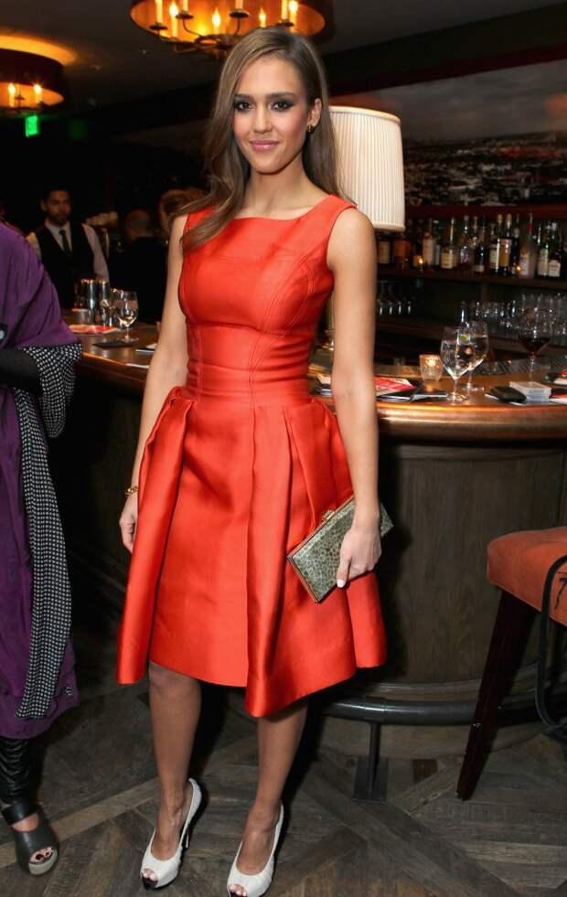 jessica alba red dress