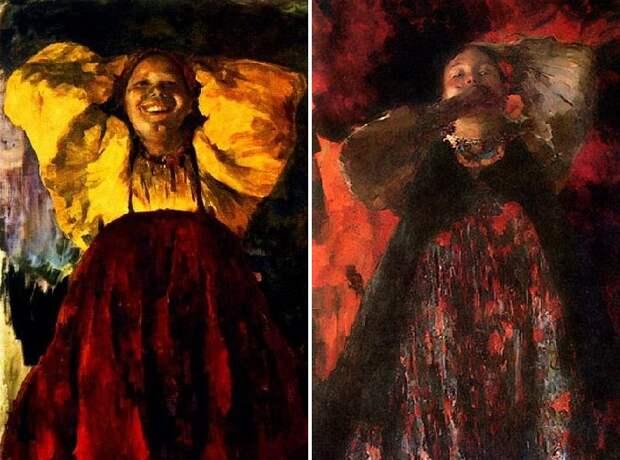 Баба в желтом. (1903 год.)/ Девка. (1903 год.) Автор: Ф.Малявин.