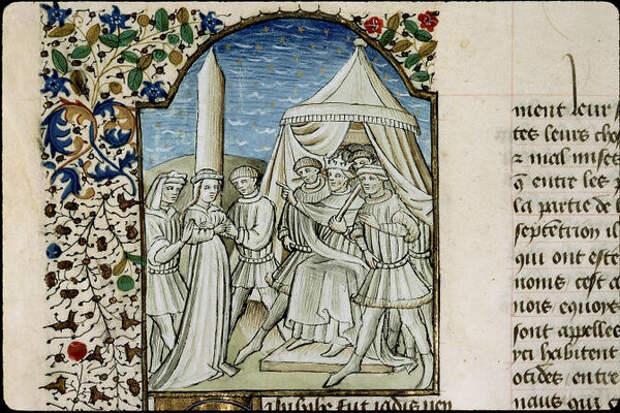 Миниатюра XII века, изображающая Ромильду и кагана