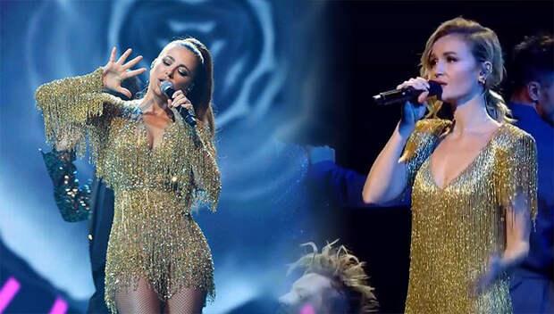 Ани Лорак и Полина Гагарина появились на «Золотом граммофоне» в похожих платьях