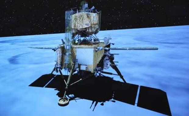 На этом фото, взятом из анимационного ролика Пекинского аэрокосмического центра управления (BACC), показана посадка космического корабля Chang'e-5 на Луну.