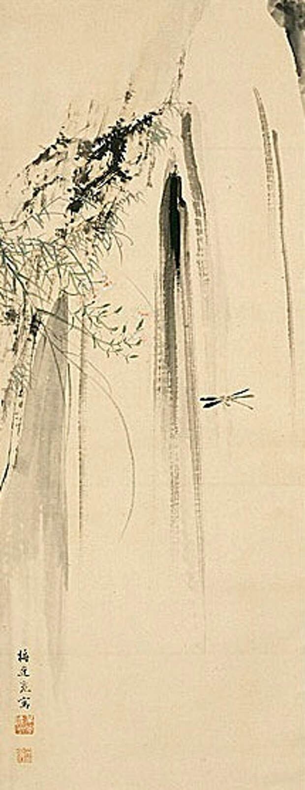 Iris and Insect; Dragonfly and Pinks with Waterfall. (215x556, 117Kb)