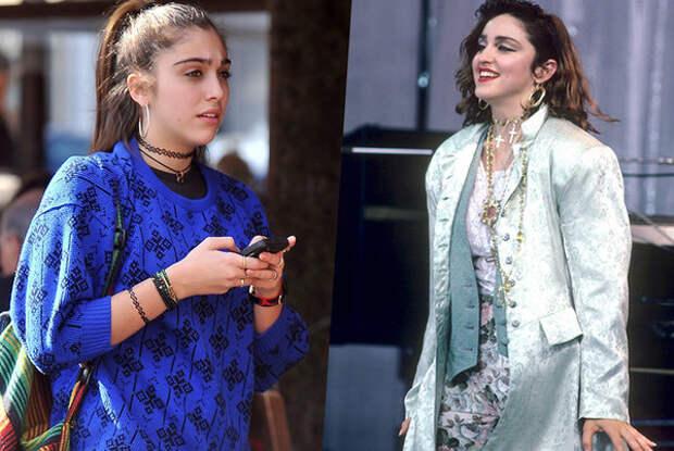 Слева Лурдес Леон (21 год), справа Мадонна в молодости