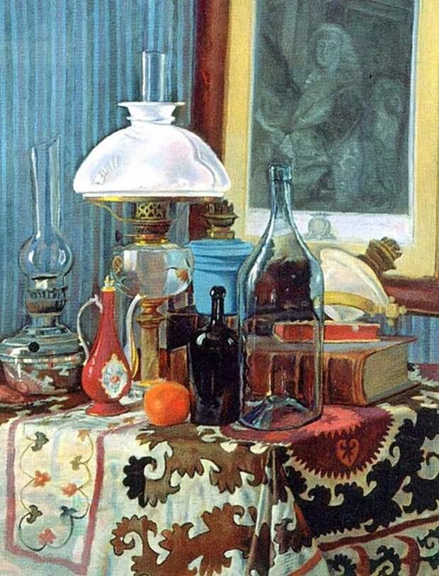 Лев Прыгунов. Натюрморт с гравюрой и лампами.