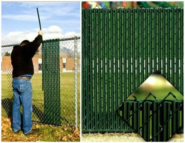 Пропустите через сетку пластиковые ламели и у вас получился прекрасный забор Фабрика идей, дача, забор, сетка Рабица, украшение