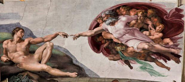 """Кто изображен на фреске """"Сотворение Адама""""?"""