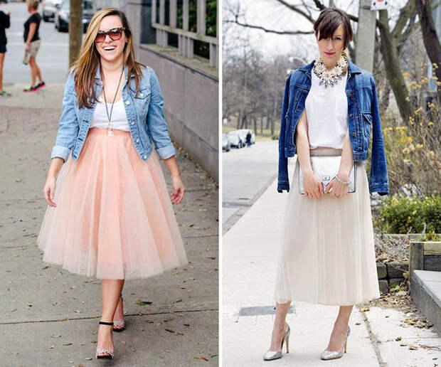 Как носить джинсовку с платьем, сарафаном и юбкой-пачкой.