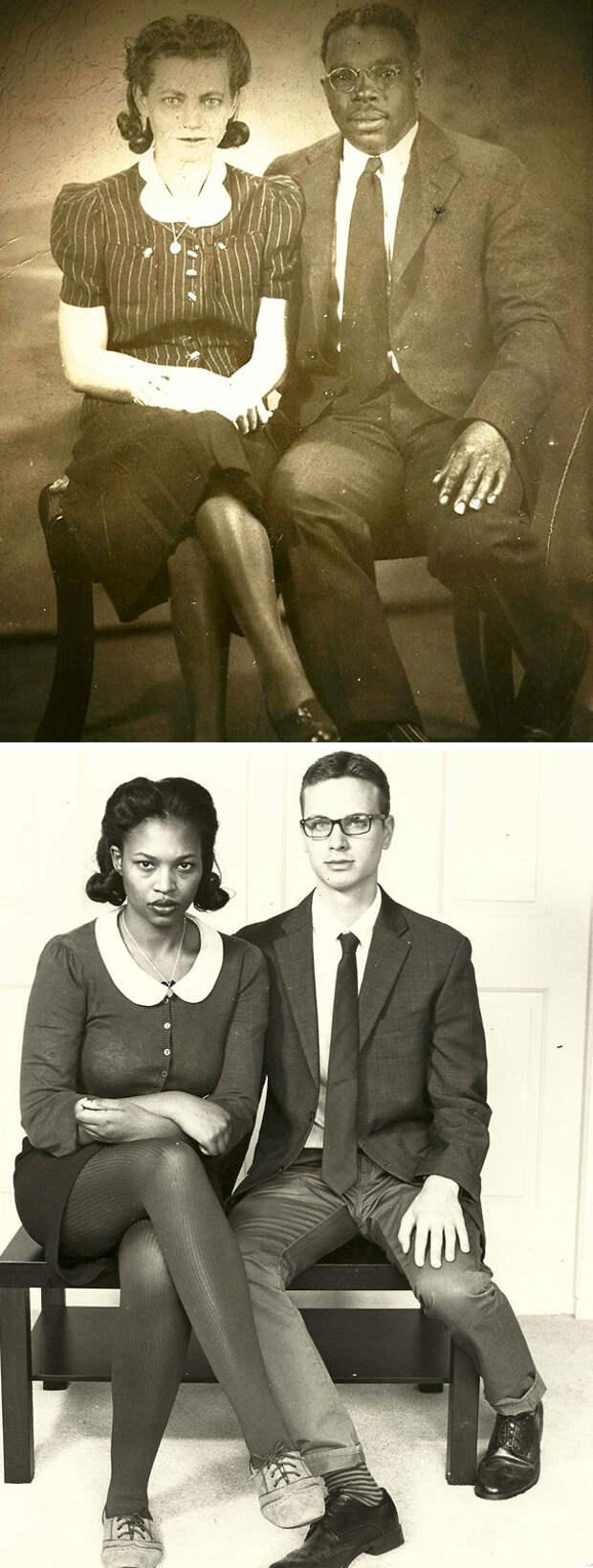 Потрясающее сходство: люди воссоздают фотоснимки своих бабушек и дедушек