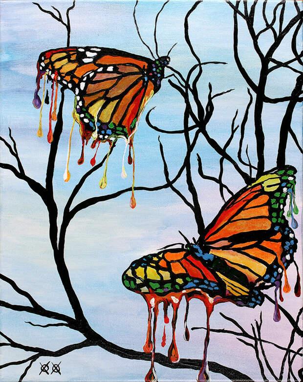 Слепой художник на ощупь создает красочные полотна.