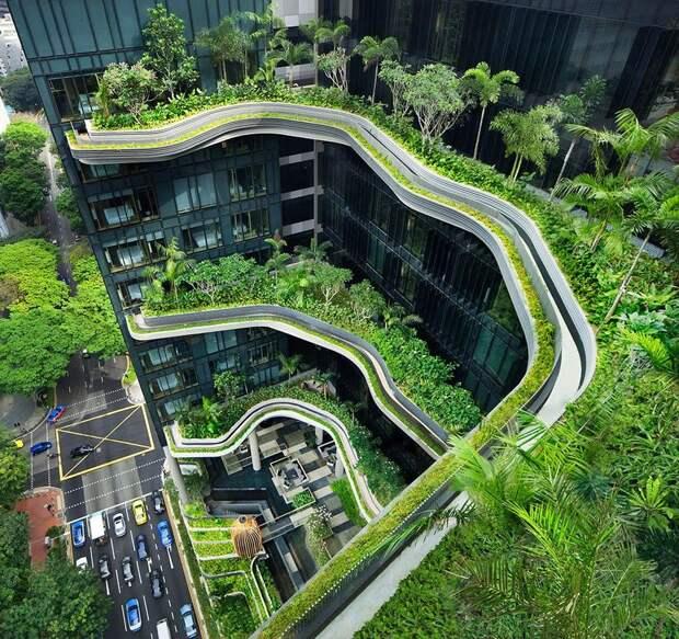 Parkroyal01 Уникальный сад на фасаде отеля в Сингапуре