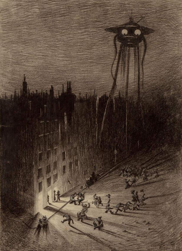 Марсианин смотрит на пьяную толпу Герберт Уэллс, война миров, иллюстрации, история