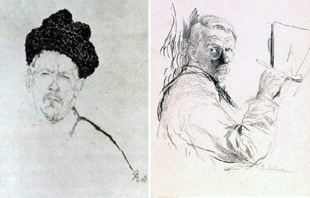 Графические автопортреты Филиппа Малявина.