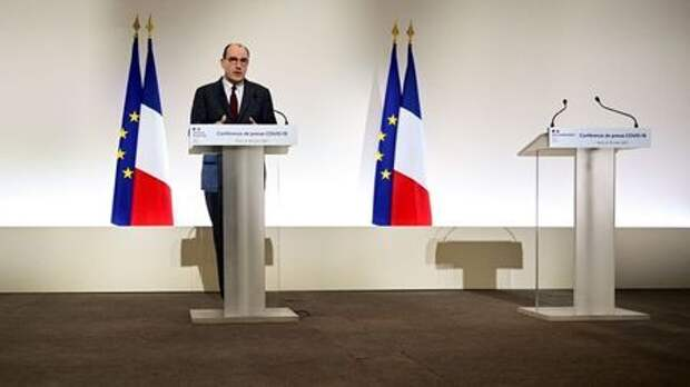 French Prime Minister Jean Castex delivers a news conference on the current French government strategy for the ongoing COVID-19 pandemic, in Paris, France March 18, 2021. Martin Bureau/Pool via REUTERS