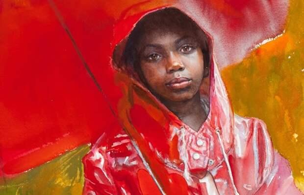 Red umbrella. (Красный зонт.) Автор: Mary Whyte. | Фото: obiskusstve.com.