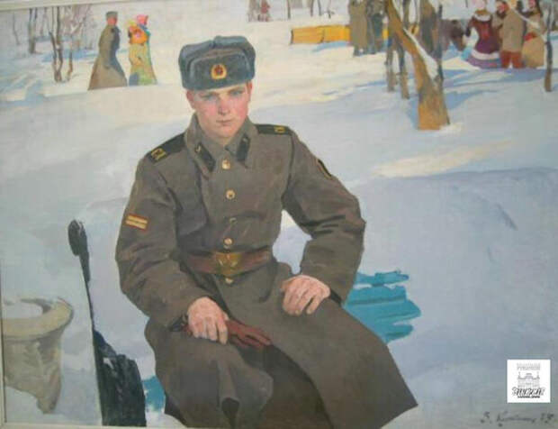 """Солдат в увольнении. На рукаве """"годички"""", отменённые в 1982 году. Парень видимо не знал про простатит) И художник тоже."""