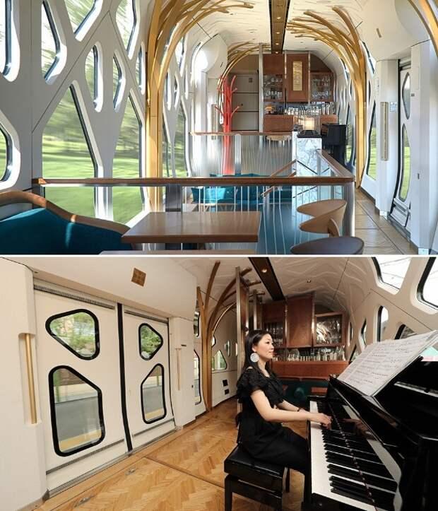 Помимо ресторана в поезде есть свой пиано-бар (Train Suite Shiki-shima). | Фото: bigpicture.ru.