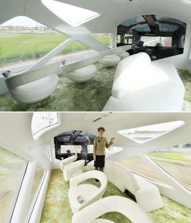 В первом вагоне оформлена фантастическая лаунж-зона (Train Suite Shiki-shima). | Фото: plainmagazine.com.