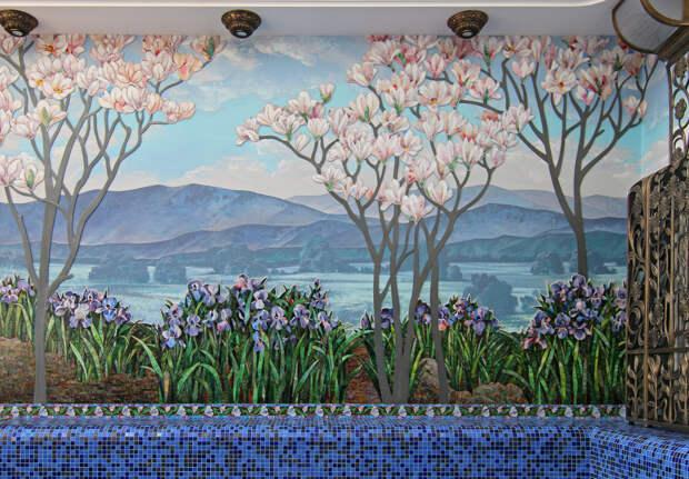 Интерьерная мозаика Пейзаж с ирисами в сочетании с росписью