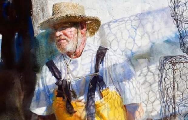 Fisherman. (Рыбак). Автор: Mary Whyte. | Фото: obiskusstve.com.