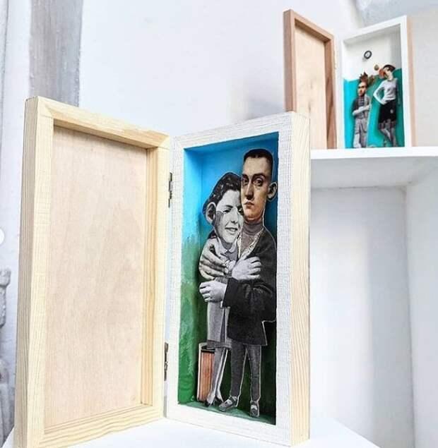 В галерее «На Песчаной» истории знакомств влюбленных пар воссоздают в коллажах