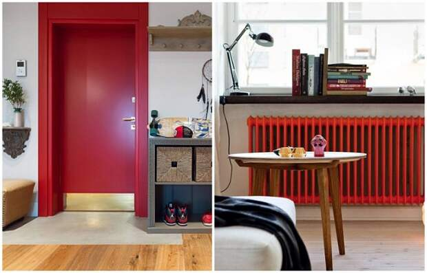 Покрасьте в красный двери или радиатор отопления
