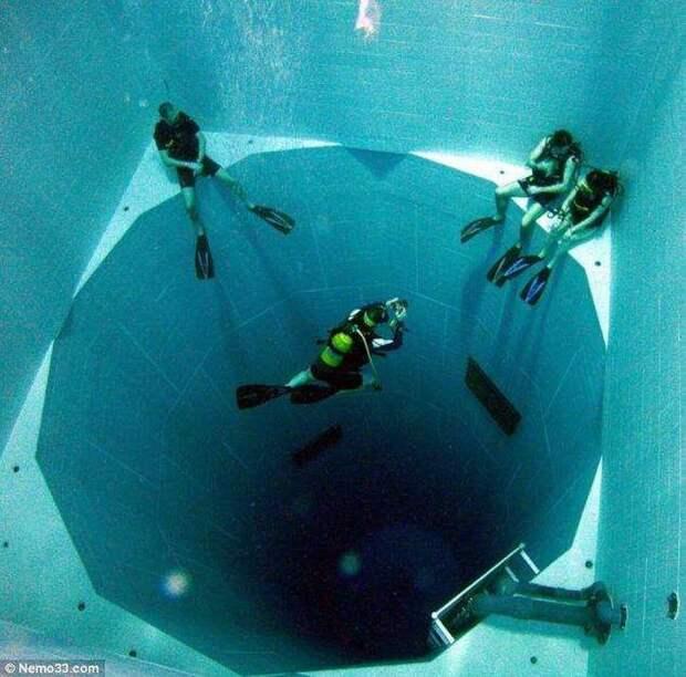 Самый глубокий в мире (34,5 метра) плавательный бассейн, вмещающий 2271 кубический метр воды интераесное, факты, фото