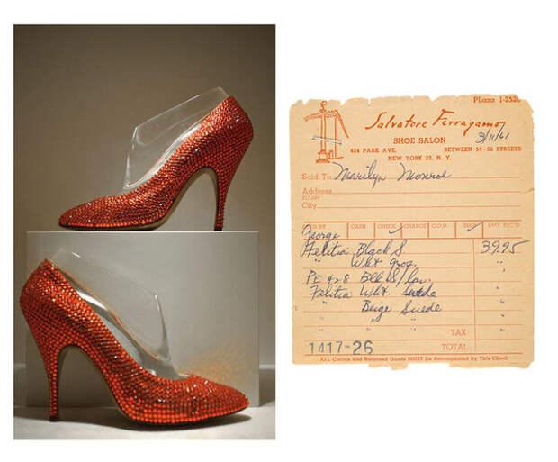 личные туфли Мэрилин Монро и ее чек от Salvatore Ferragamo