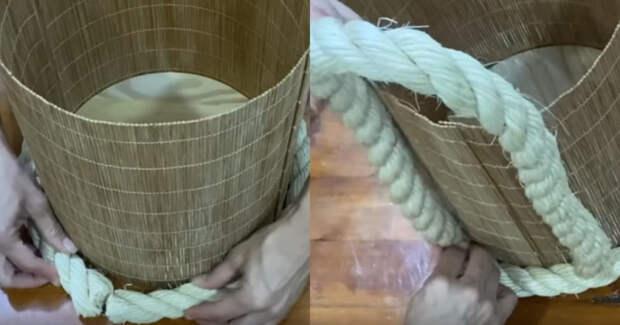 Большая интерьерная корзина: быстро, просто и из самых простых материалов