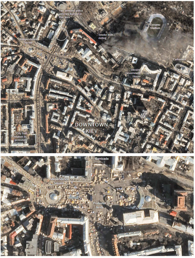 Satellite Images of the Protests in Kiev   NYTimes