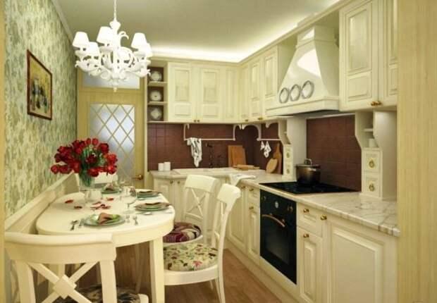 Обустройство маленькой кухни на французский манер