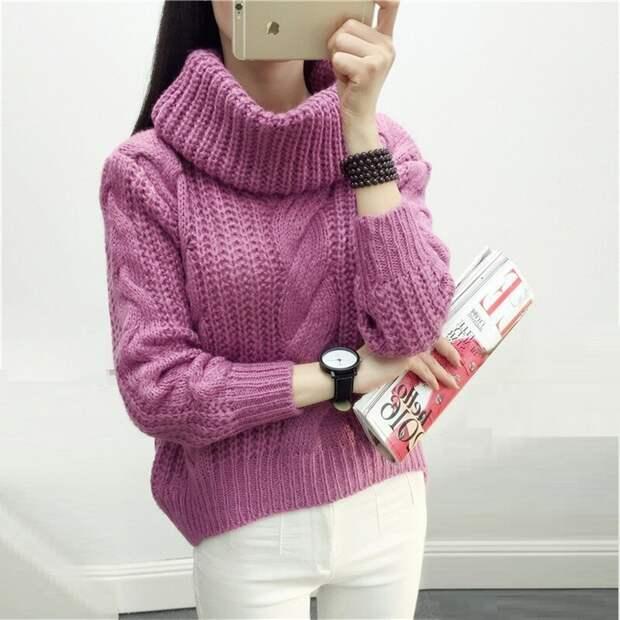 Вязаный лиловый свитер. /Фото: ae01.alicdn.com