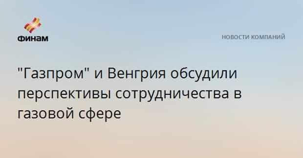 """""""Газпром"""" и Венгрия обсудили перспективы сотрудничества в газовой сфере"""