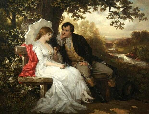На картине Карла Швенингера красная шаль «подсвечивает» девушку сзади.