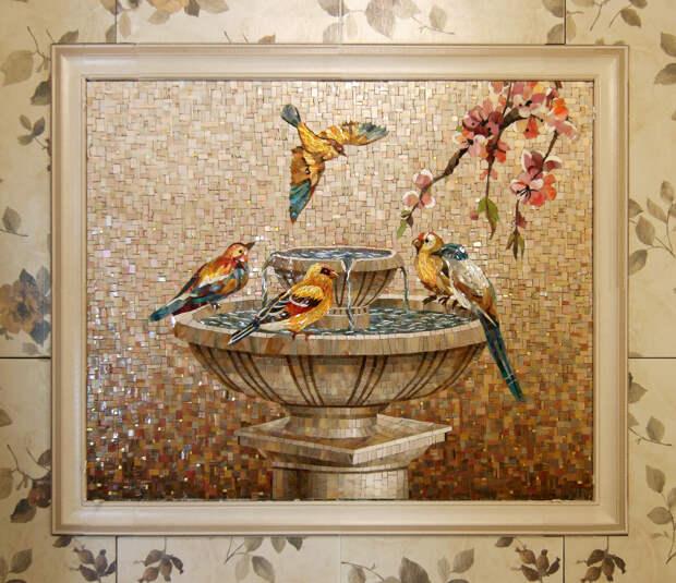 Мозаичное панно Птицы у фонтана 1