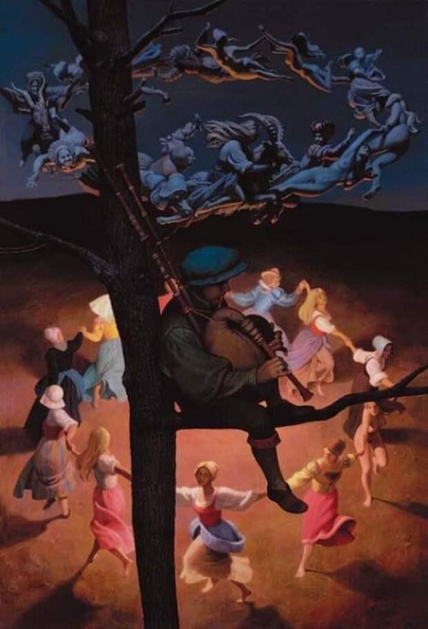 Церковь с самого начала распространения христианства порицала хороводные танцы, потому что они использовались не только для развлечения, но и в языческих обрядах. Картина Николая Бессонова.