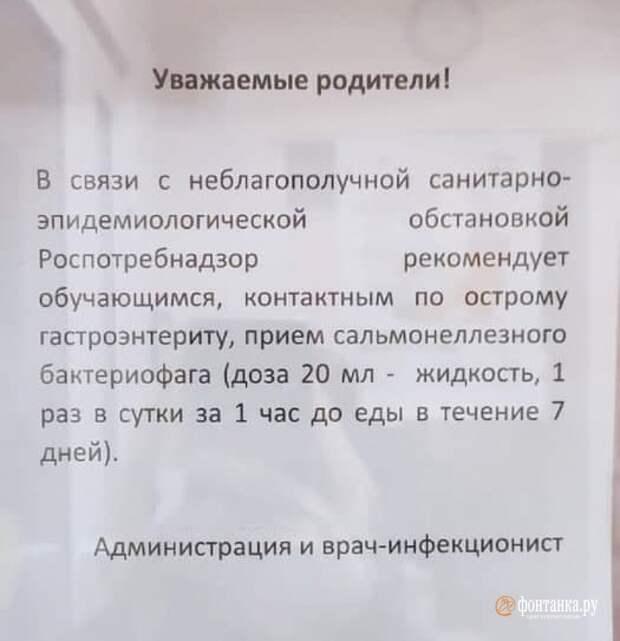 В петербургской гимназии после вспышки кишечной инфекции детям выдали рецепты на препарат от сальмонеллёза. Одна девочка остаётся в больнице