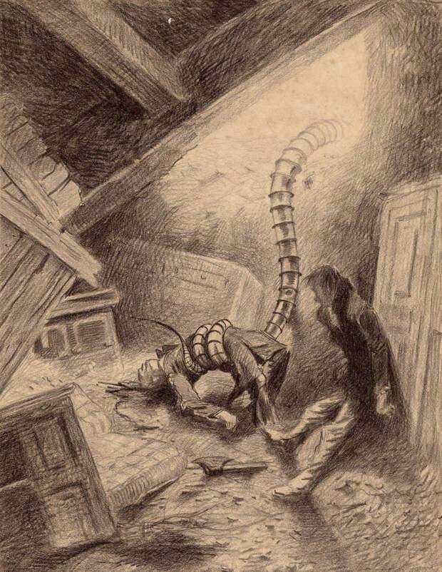 Щупальце схватило человека Герберт Уэллс, война миров, иллюстрации, история
