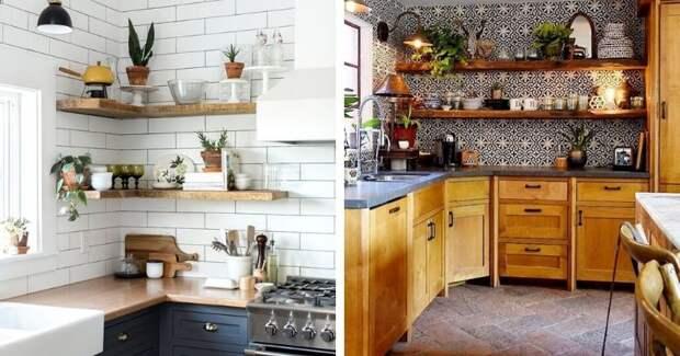 Нетривиальные идеи для кухни — стильные открытые полки на стену