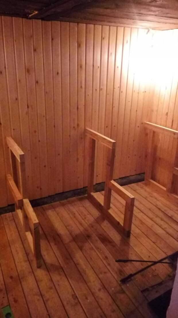 Каркас для полка (или полока) тоже из лиственницы - брус 40 * 70 баня, своими руками, сделай сам