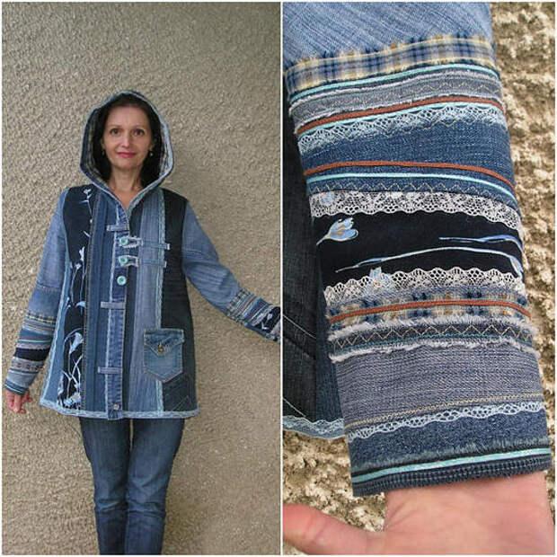 Джинсовая куртка в стиле пэчворк