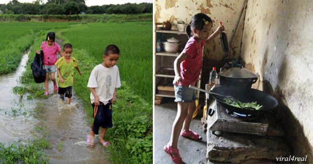 Их мать сбежала, а отец - умер. Вот как справляется с хозяйством 10-летняя девочка