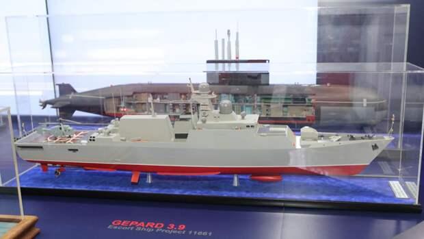 Макет сторожевого корабля проекта 11661 «Гепард 3,9»