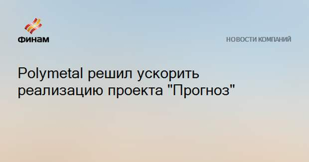 "Polymetal решил ускорить реализацию проекта ""Прогноз"""