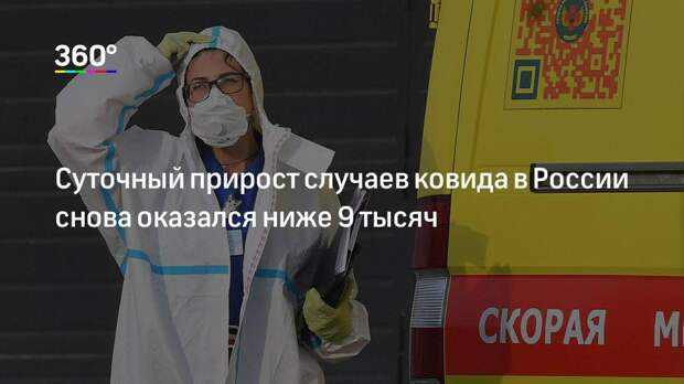 Суточный прирост случаев ковида в России снова оказался ниже 9 тысяч