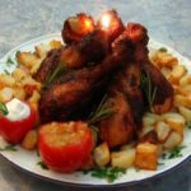 Жареные куриные голени на сковороде