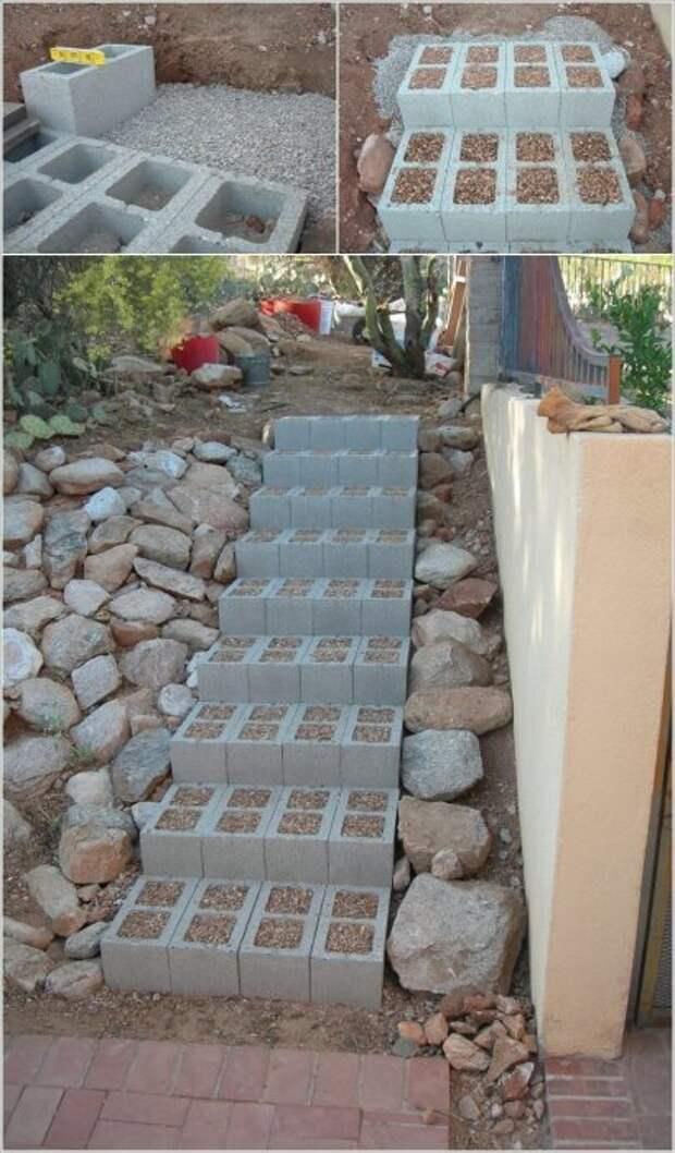 Шлакоблоки можно использовать для создания удобной и долговечной садовой лестницы, которая незаменима на участке с большим наклоном.