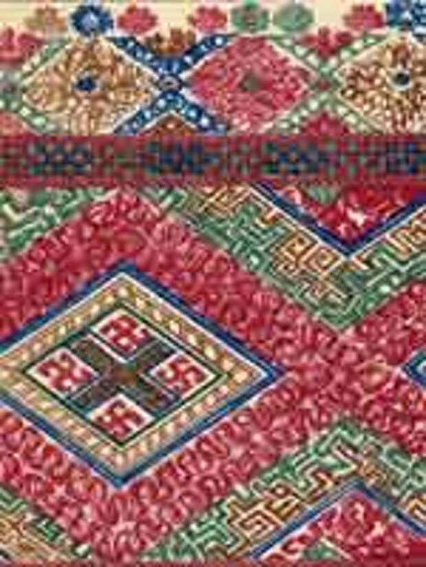 Сборник Стасова 1872 года. Вышивка на женской рубашке. Выборгская губ. уезд Каппали