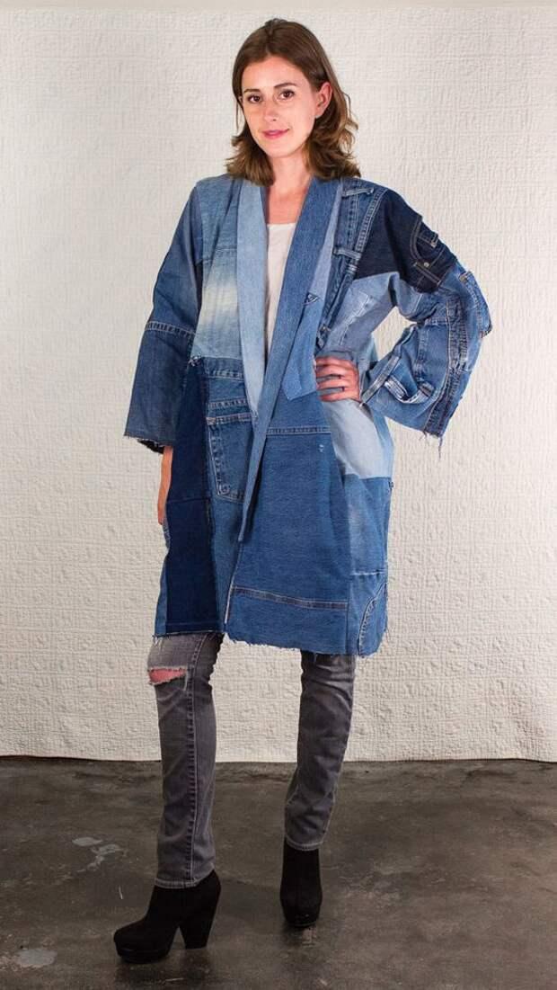 Джинсовые пэчворк пальто