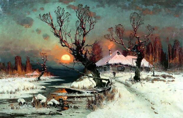 КЛЕВЕР Юлий - Закат солнца зимой.jpg